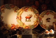 My  Autumn Leaves dinnerware collection / hand painted tableware/ copyright
