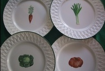 """My """"Four seasons"""" collection/ les 4 saisons / hand painted on Limoges porcelain. French Bread, vegetables, salads and fruit...."""