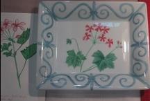 """My """" laurels and geraniums"""" dinnerware collection / sidi bou said, lauriers et geraniums...la mediterrannée."""