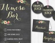 Mimosa Bar Signs & Tags / Create your own mimosa bar for many occasions! Instantly downloadable & editable.  https://www.etsy.com/shop/wowwowmeow