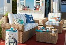 Outdoor Coastal Decor & Living / Ideas for nautical, coastal and beach theme patios, porches, gardens, and exteriors.