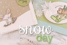 "Snow Day - Winter Stamp Set / There's no day like a snow Day! Cards and papercrafts made with the photopolymer Stamp set ""Snow"" designed by Newton's Nook Designs! Filled with fun critters playing in the snow!"