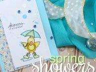 Spring Showers - Stamp Set / Our 3 x4 photopolymer Spring Showers Stamp set is perfect for spring occasions! Use it for get well cards, baby showers, or just showers of love & Kindness! Designed by Newton's Nook Designs! Visit us at www.newtonsnookdesigns.com