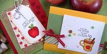 Apple Delights - Fall Stamp Set / Celebrate apples - our favorite Fall treat! Create cute apple cards for your friends and loved ones featuring some sweet caramel apples or an adorable mug of cider! Also fun for embellishments to scrapbook your trip to the apple orchard or create cute teacher gifts!  www.newtonsnookdesigns.com