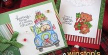 Winston's Home for Christmas - Bear Stamp set / This set features such cute images of Winston, our adorable bear! He's driving a sweet little car jam-packed with goodies and bringing you a holiday tree and a stack of gifts!