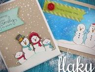 Flaky Family - Snowman Stamp Set / Create your own snow family with this 4 x 6 stamp set! Build a snow-family that represents your own family by combining all the fun parts and pieces - complete with a snow-dog and snow-cat too! This set will be so much fun to personalize and create custom greeting cards! http://www.newtonsnookdesigns.com/
