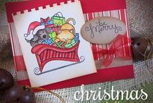 Christmas Delivery - Sleigh Stamp Set / Newton and his puppy friend are delivering a sleigh full of gifts! Fun cards and projects using this adorable stamp set by Newton's Nook Deisigns.
