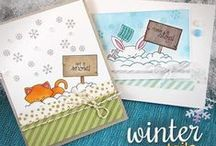 Winter Tails - Winter Animals Stamp Set / Do you have long winters where you live? Do you love or hate snow? Then this 4 x 6 snow set is for you! These critters are ready to cheer on the snow - or to ask it to stop! This set definitely will be a favorite for sending winter wishes!