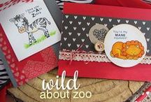 "Wild About Zoo Stamp Set / These zoo friends are perfect for making cute little Valentines, love, and anniversary cards! This set includes a pun for each animal plus the extra ""Will Zoo be Mine?"" sentiment to go with them all!"