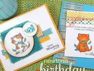 "Newton's Birthday Flutter - Cat Birthday Stamp Set / This 3 x 4 mini stamp set features has fun multiple meanings! Pair the kitty image and the ""a little birdie told me it was your birthday"" sentiment with the ""so I ate him"" for a funny birthday card. Or use the ""I keep missing you"" for a different way of looking at the image! http://www.newtonsnookdesigns.com/newtons-birthday-flutter/"
