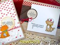 "Newton's Sick Day - Cat Stamp Set / Newton is back in this adorable 4 x 6 stamp set. If you know someone who is not ""feline"" well, this set is perfect for sending get-well wishes!"