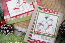 Holiday Smooches - Holiday Stamp Set / Get ready to make the most adorable holiday cards with this 4x6 stamp set! Featuring cold-weather animal couples and mistletoe, this set is sure to make you smile. These sweet couples are perfect for sending holiday wishes to or from a special couple!