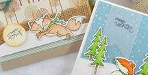 Fox Hollow - Winter Stamp Set / These cute little foxy friends will make the most adorable winter and holiday cards. Add in the tree and snowflakes to create cute little scenes or backgrounds too.