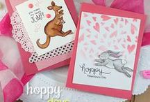 "Hoppy Days  - Valentine & Love Stamp Set /  This 4 x 6 stamp set features some fun friends who are ready to hop their way into your heart! Send ""hoppy"" birthday and Valentine greetings with these adorable critters and puns! www.newtonsnookdesigns.com"