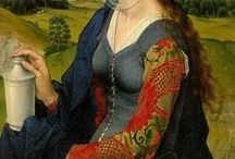 Weyden dress ca 1450-60 / Project board for a 15th century kirtle often seen on Weydens paintings