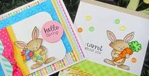 Hello Spring - Bunny Stamp Set / On her first feature 4x6 set our Bunny is ready to welcome spring! She's so cute with her big carrot and tulip bouquet! Add in the eggs to create Easter cards or use the flowers to create adorable spring greetings!