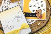 Winston's Honeybees - Bear & Honey Stamp Set / Winston is adorable with his sweet honeybees. Make fun spring cards for your sweetie and cute friendship wishes. You will BEE happy to have this adorable set in your collection!