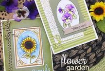 Flower Garden - Stamp Set / If you liked our Garden Starter set, you will love to add on more beautiful blooms with this 4 x 6 flower stamp set. All of the flowers in this set fit inside the oval frame on the Garden Starter stamp set. All of the words in this set fit inside the banner on the Garden Starter stamp set. This set is also great on it's own to create lovely floral-themed cards!