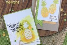 Pineapple Delight - Bold Stamp Set / We love pineapples because they are the symbol of welcome, friendship and hospitality! In this fun little 4 x 4 stamp set we've included 3 fun bold pineapple images for you to choose from.