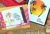 Paradise Palms / These stamp images were watercolored by hand and then converted into stamps to give you that soft, painted feel. They will be perfect for creating beach sunsets and work great with both solid and ombré inks!