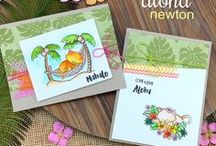 Aloha Newton - Cat Stamp Set / Our favorite feline, Newton, is taking a summer vacation to the islands! This adorable 4 x 6 stamp set is features Newton relaxing in the tropics.