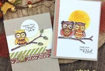 What a Hoot - Owls Stamp Set / This 4x4 stamp set is such a hoot! This set features two owl images along with owl-themed sentiments! Both owls will fit side by side on the branch to create a sweet little scene!