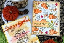 Fall-ing for You - Autumn Stamp Set / Celebrate all things Fall with this sweet mini stamp set! This little set is packed with all our favorite Fall things! It features a lovely Fall sentiment and images of coffee, pumpkins, and leaves!