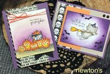 Newton's Boo-tiful Night - Cat Halloween Stamp Set / Newton is hanging out at the pumpkin patch in this Halloween stamp set! These delightful images of the kitty and jack-o-lanterns will be so purr-fect for creating cute Halloween cards!