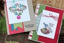 Holiday Tweets - Birds Christmas Stamp Set / This 4 x 4 mini set is packed with Christmas cheer! This charming set features little bird couples sharing holiday wishes! The bird couple on the branch will be so fun to color in different holiday themes!