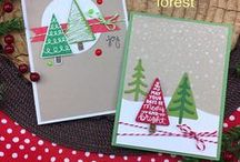 Festive Forest - Christmas Tree Bold Stamp Set / Create a forest of fabulous patterned trees with this 4 x 6 stamp set! These decorative trees are so fun and easy to use. Just grab your favorite colored inks and stamp away. Mix and match them with the two tree trunks and two star toppers!