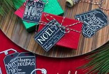 Joyful Tags - Hand lettered Tag Stamp Set / Dress up your gifts in style this season with this 4 x 6 tag stamp set! Inspired by the chalkboard look, these tags with their fun hand-lettered holiday messages will help make your gifts look elegant.
