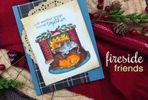 Fireside Friends - Dog and Cat by Fireplace Stamp Set / Cold outside? This 4 x 4 stamp set will warm your heart! This adorable pile of furry friends is so sweet and snuggly in front of the fire! Cat and dog fans will both love this sweet image!