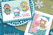 Sweater Weather - Animals wearing sweaters stamp set / Get geared up for a winter sweater party with this 4 x 6 stamp set! Join Newton, Winston, Lily and their foxy friend as they dress up in adorable winter wear!
