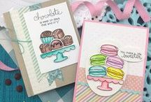 Love & Chocolate - Sweet Treats Stamp Set / All you need is Love & Chocolate! This yummy 4 x 6 stamp set is perfect for Chocolate lovers! Fill up the treat stand with loads of yummy chocolates, macarons and chocolate dipped strawberries! Finish your creation with one of the fun chocolate sentiments and send to someone sweet!