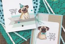"Pug Hugs - Pugs Stamp Set / Our adorable 4 x 4 Pug stamp set will make steal your heart! These cute pugs are so adorable! Dress them by adding a bow tie or birthday hat and send a ""birthday pug"" or ""pug hugs"" to all your friends!"