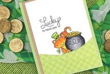 Newton's Pot of Gold - St. Patricks Day Stamp Set / Newton has found his pot of gold in this sweet little 3 x 4 stamp set! Use this adorable image for sending cards for St. Patrick's Day and more!