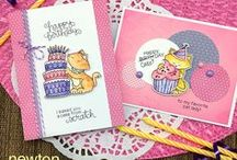 Newton Loves Cake - Cat and Cake Birthday Stamp Set / This entertaining 4 x 6 stamp set features our favorite feline, Newton, celebrating with birthday cake!