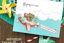 Winston Takes Flight - Whimsical Airplane Stamp Set / Winston is flying by to help you send adorable greetings! In this fun 4 x 4 stamp set, Winston is so cute in his little toy plane.