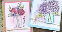 "Lovely Blooms - Stamp Set - Flowers in Jars / Paper craft projects made with the ""Lovely Blooms"" stamp set by Newton's Nook Designs! Features a mason jar and flowers you can use to fill it plus sentiments for mother, sister, grandma and more!"