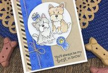"Terrific Terriers - Dogs Stamp Set / Get ready for some cute pups with this stamp set! These little Terriers are perfect to send ""paw-some"" cards to all your friends! Add the heart and ribbon to let them know they are ""best in show""!"