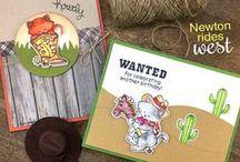 Newton Rides West - Cowboy Cat Stamp Set