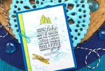 Lake Advice - Stamp Set / Send advice from the lake with this stamp set! It features a fun inspirational sentiment and images of a kayak, canoe, paddle, trees and ripples!