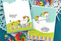 Believe in Unicorns - Stamp Set / This magical stamp set features a cute trio of unicorns that will be so fun to color and create scenes with. The fun inspirational sentiments make this set perfect for sending cards that will brighten anyones day!