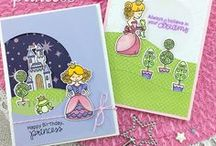 Once Upon a Princess - Stamp Set / This sweet princess themed stamp set is perfect for sending out fairytale greetings! Use the images of this adorable princess kissing her frog prince and standing by her castle to send fun birthday cards and more!