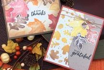 Shades of Autumn - Fall Stamp Set / Create your own beautiful watercolored leaf cards with this stamp set! The images in this set give you the look of watercolor using your stamp and ink pad.