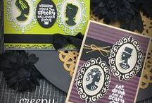 Creepy Cameos - Halloween Stamp Set / Create fun Halloween projects with this spooky stamp set! This set includes a cameo frame and four fun creepy silhouettes that fit inside. All the included sentiments will also fit inside the frame.