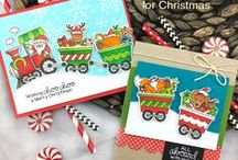 All Aboard for Christmas - Christmas Train Stamp Set / Newton and his friends are All Aboard and ready to send some holiday fun with Santa driving the train!