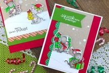 Naughty or Mice - Christmas Mouse Stamp Set / This stamp set features sweet little mice dressed for the holidays! These cute little critters are helping wrap gifts and spread holiday cheer!