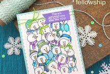 Frozen Fellowship - Snowmen Stamp Set / This fun stamp set includes one giant snowman stamp that is the just the right size to fill your card front! Add on the fun sentiments and that's all you need for a quick and cute winter card!