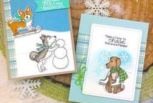 Winter Woofs - Winter Dogs Stamp Set / Ready, Set, Snow! This adorable stamp set features three cute pups playing in the cold weather! These whimsical images are perfect for sending winter wishes to all the dog lovers in your life!